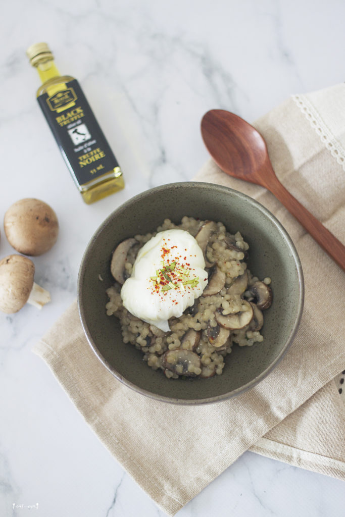 truffle oil mushroom couscous risotto