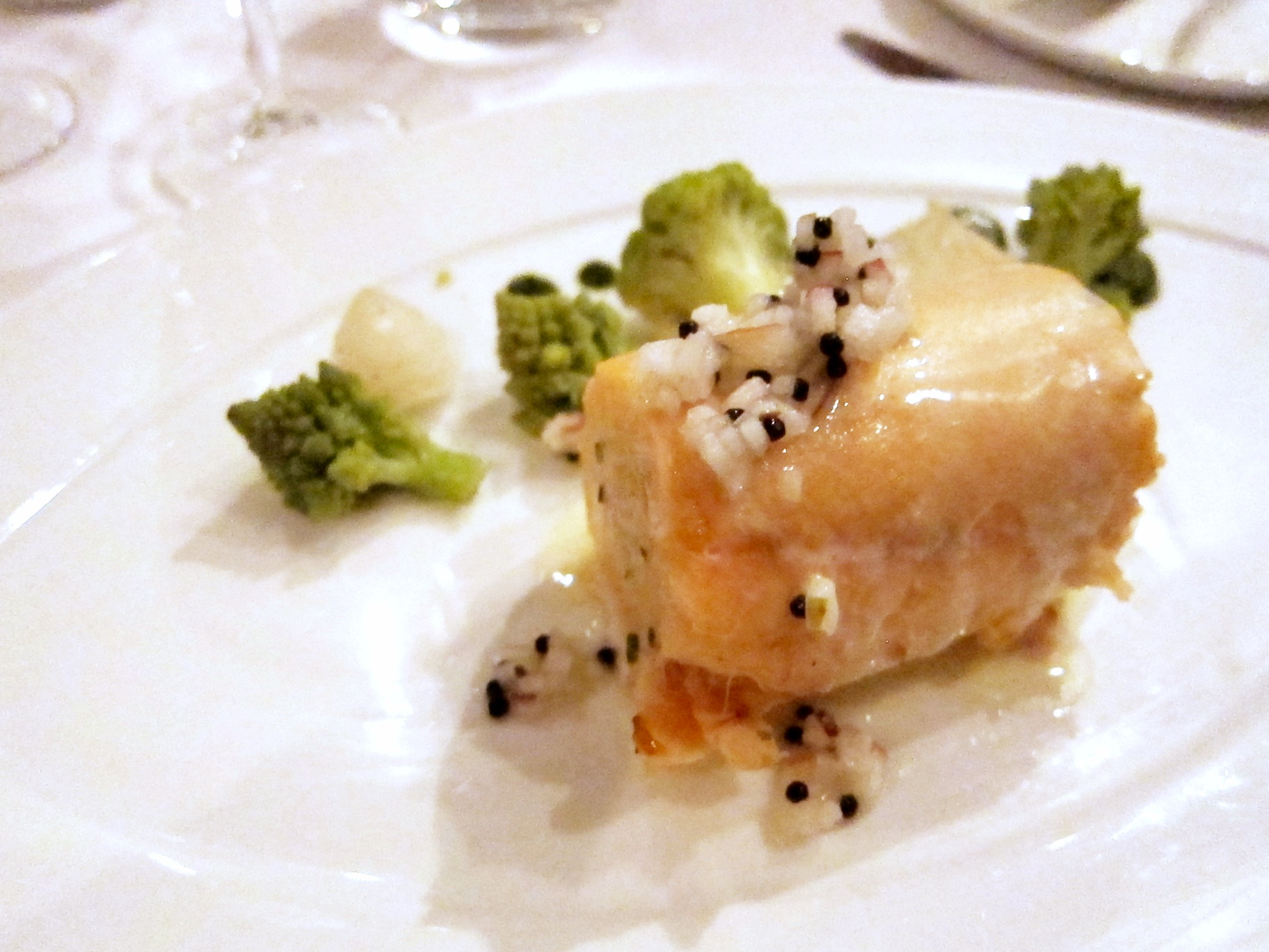Main: Confit Salmon Medallion with Apple and Mustard Dressing