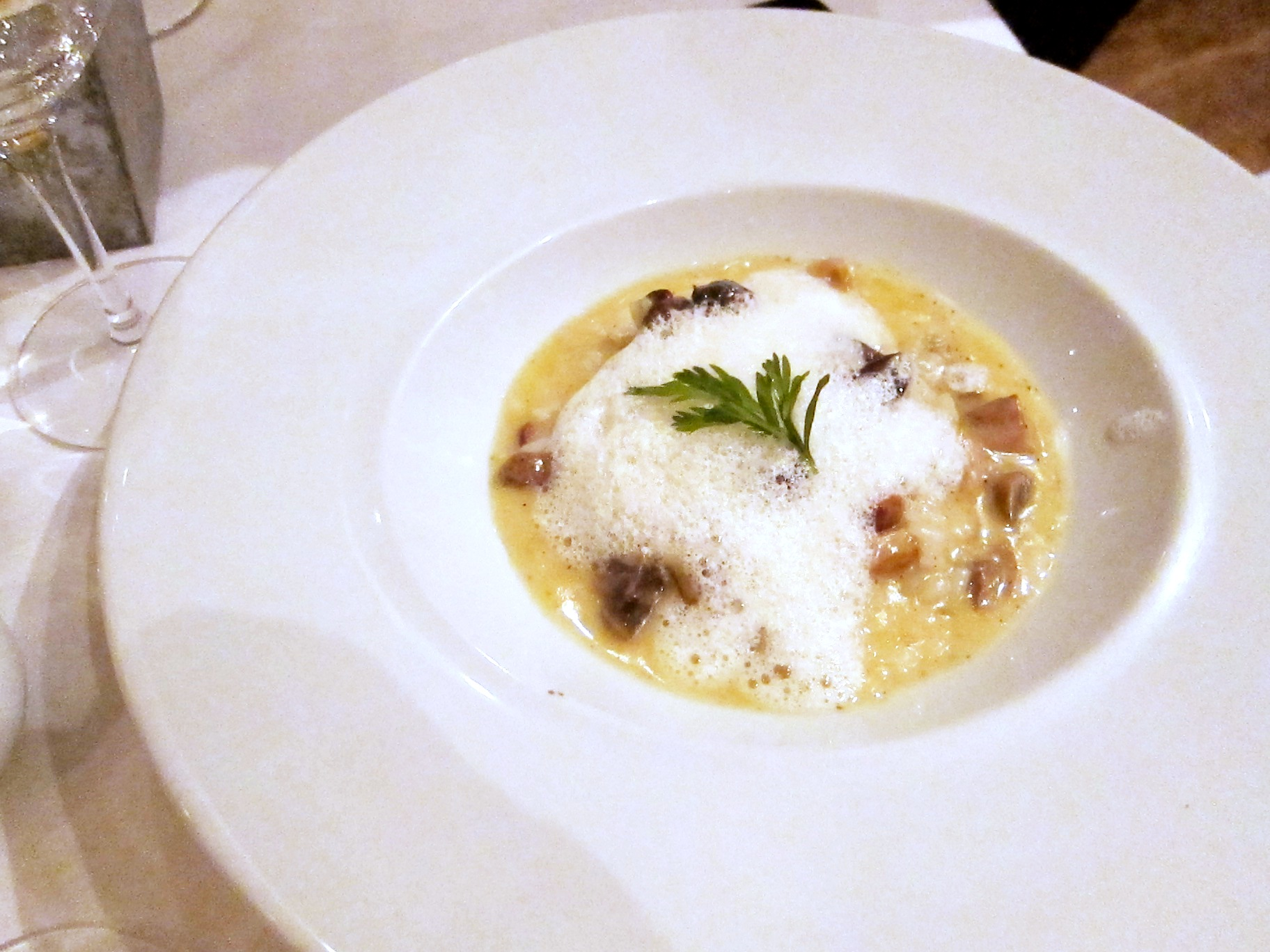 Appetizer: Wild Mushroom Risotto, Confit Snails with Truffle Froth